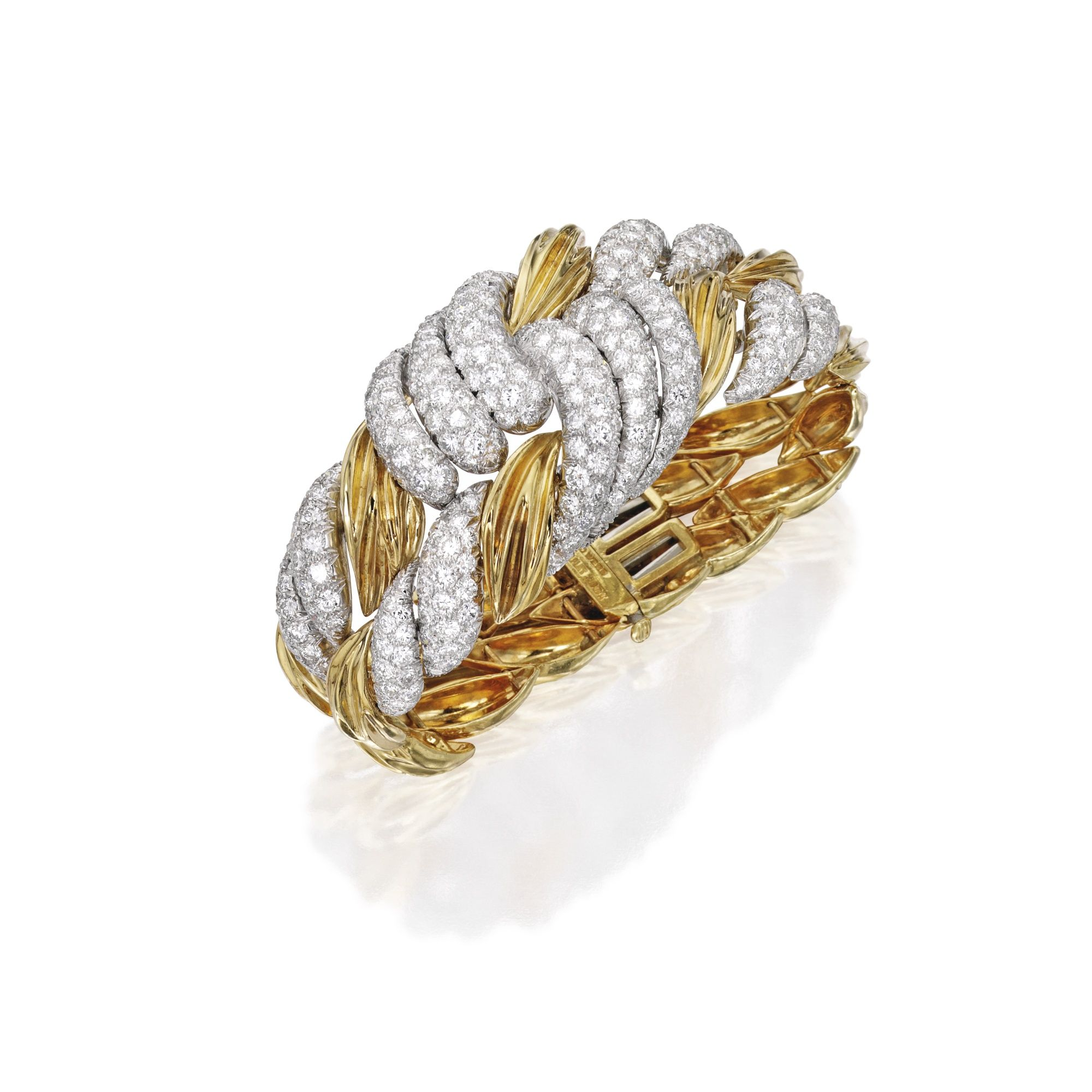 7c76b5ad9a5 18 KARAT GOLD, PLATINUM AND DIAMOND BRACELET, DAVID WEBB Of twisted design,  set at intervals with round diamonds weighing approximately 12.50 carats,  ...