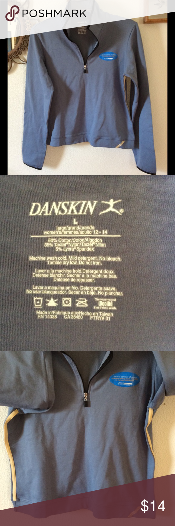 NWOT DANSKIN WORKOUT/JOGGING JACKET. NWOT DANSKIN WORKOUT/JOGGING JACKET.  HAS NEVER BEEN WORN, STILL HAS REMOVABLE TAG ON FRONT AT SHOULDER. This is a great warmup workout jacket. Has stripes on side. First picture is best color picture. Size large. Danskin Jackets & Coats Utility Jackets