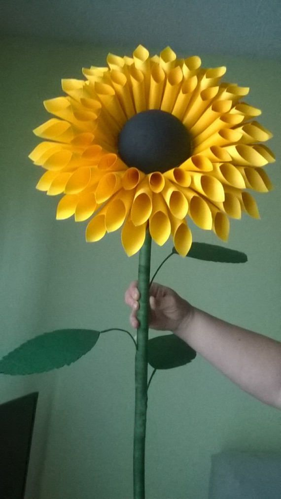 Standing Paper Sunflowers Paper Flowers With Stem Stemmed Paper
