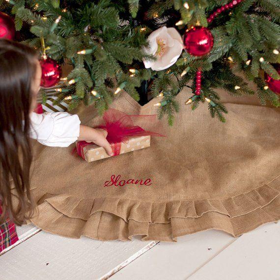 Burlap Personalized Christmas Tree Skirt, Farmhouse Tree Skirt