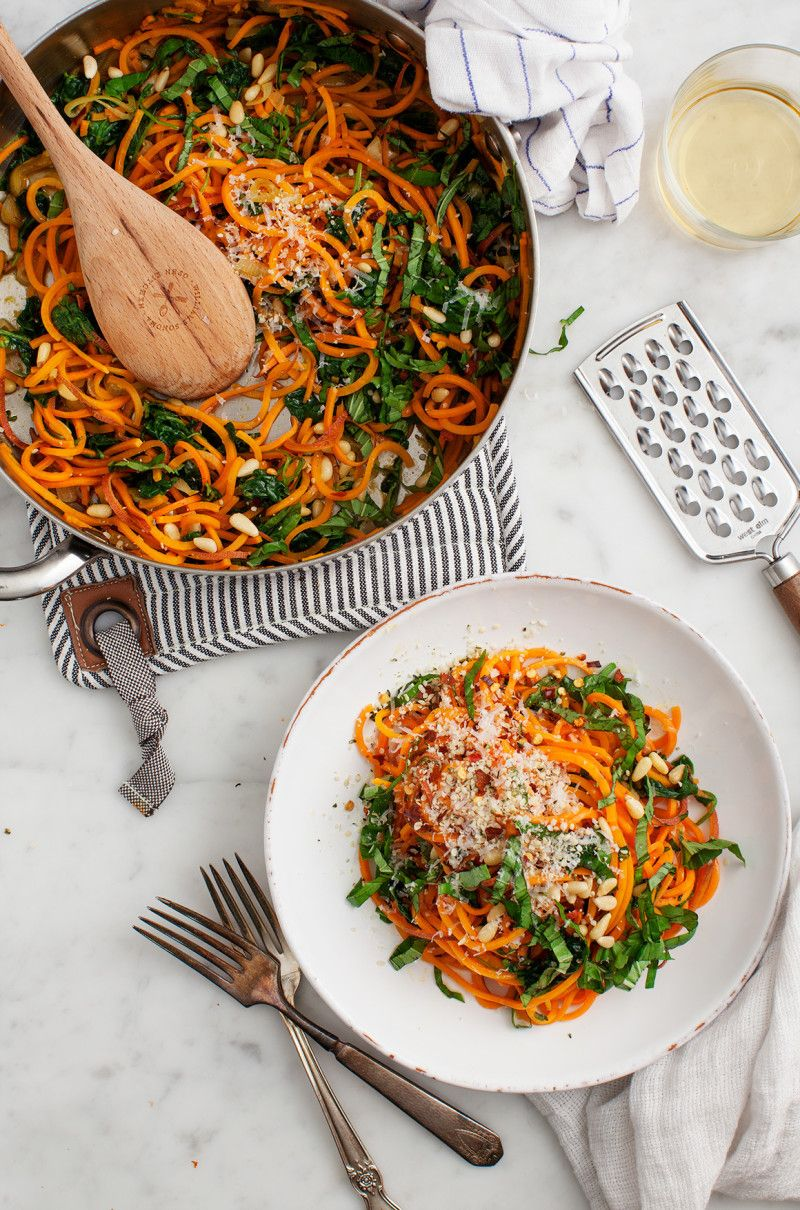 What you'll need:• 1 sweet potato (spiralized and sautéed in olive oil)• 1-2 cups shredded kaleKeep it simple and use what you've got: If you don't have pesto and parmesan in your fridge, just toss the sautéed kale and sweet potato noodles with butter, salt, and pepper. Get the recipe.