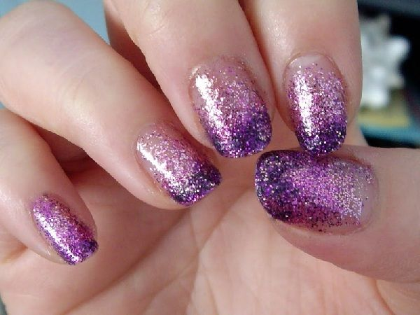 easy diy light purple nail art design with glitter | Hair ...