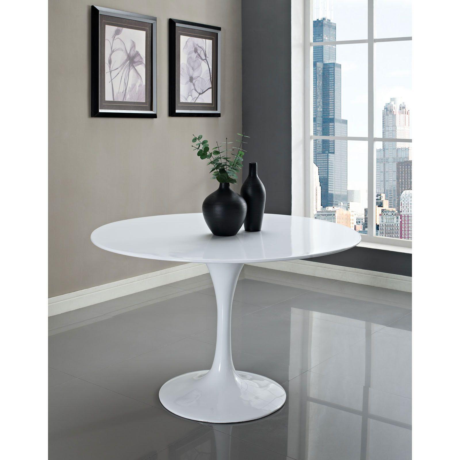 White Tulip Table 48 Fiberglass Dining Table Tulip Dining Table Stylish Dining Room