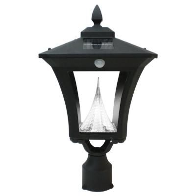 Gama Sonic Weston Solar Black Outdoor Post Wall Light With Motion Sensor Gs 53fwp Pir The Home Depot Solar Lights Outdoor Post Lights Led Outdoor Lighting