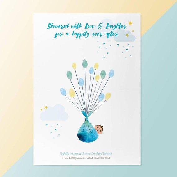 Baby Shower New Baby Bundle - Unframed Personalised Balloon Fingerprint Tree - Thumbprint Guestbook - Baby Boy