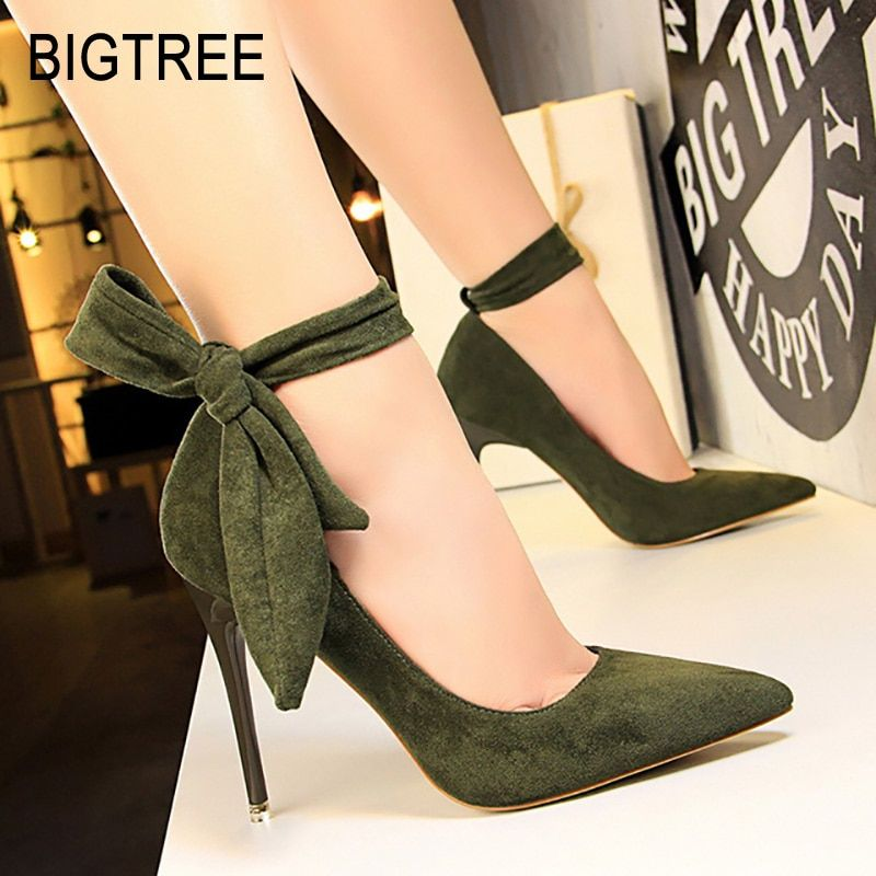 4112af32934 BIGTREE Shoes Women High Heels Classic Pumps Women Shoes Suede ...