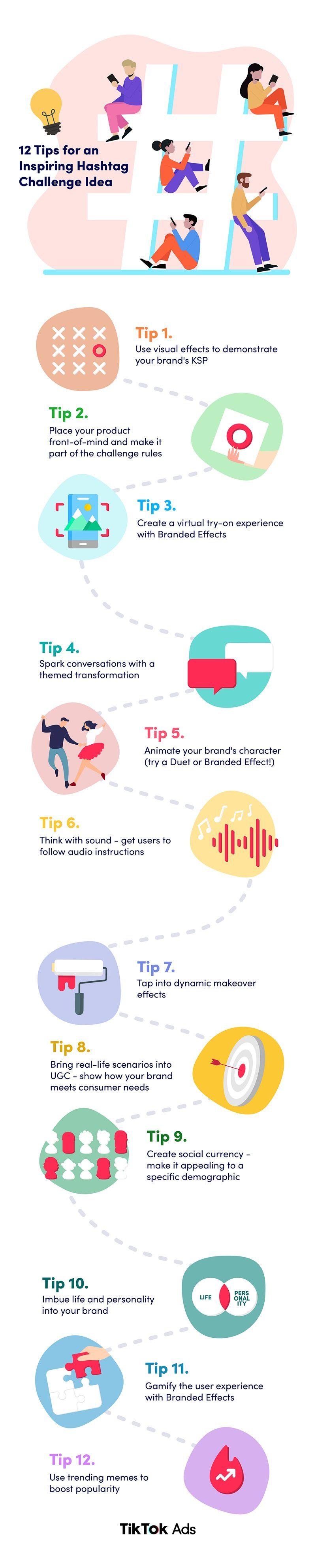 12 Tips For Hashtag Challenge Ideas On Tiktok Infographic Social Media Today Tren