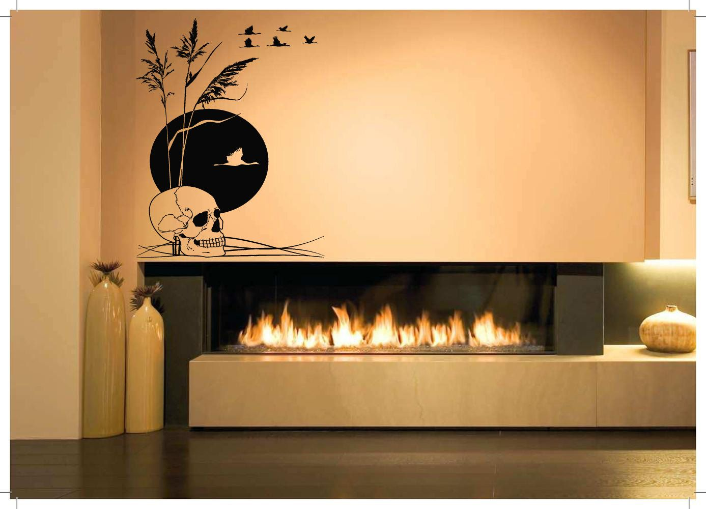 Wall Vinyl Sticker Decals Mural Room Design Bedroom Scull Moon Birds Reeds  River Skeleton Zombie Bo2836