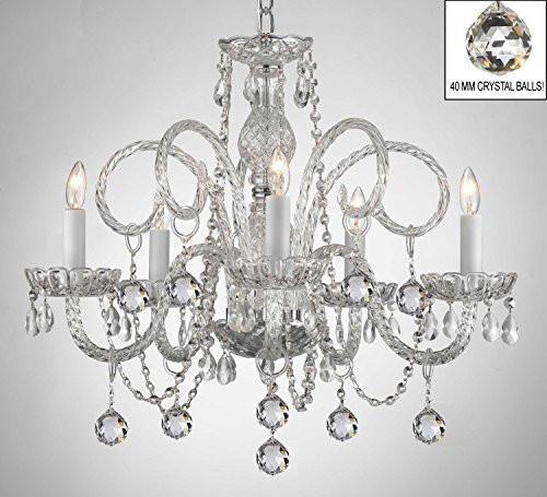 Swarovski Crystal Trimmed Chandelier All Crystal Chandelier With Crystal Balls A46 B6 385 5 Sw Crystal Chandelier Candle Style Chandelier Crystal Chandelier Lighting