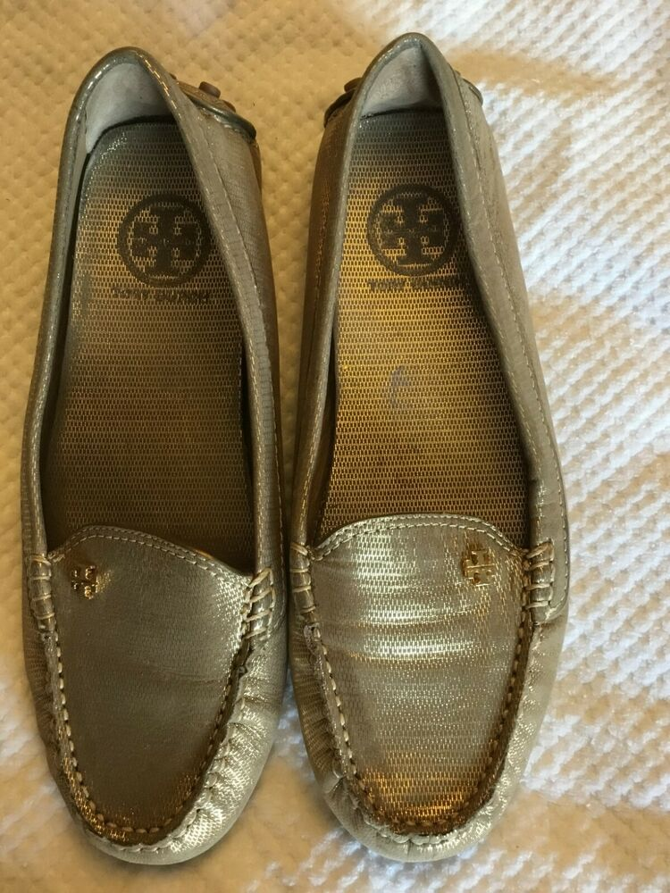 550f7601038 Tory Burch Driving Loafer Moccasins Flat Shoes Metallic GOLD Sz 7M  fashion   clothing