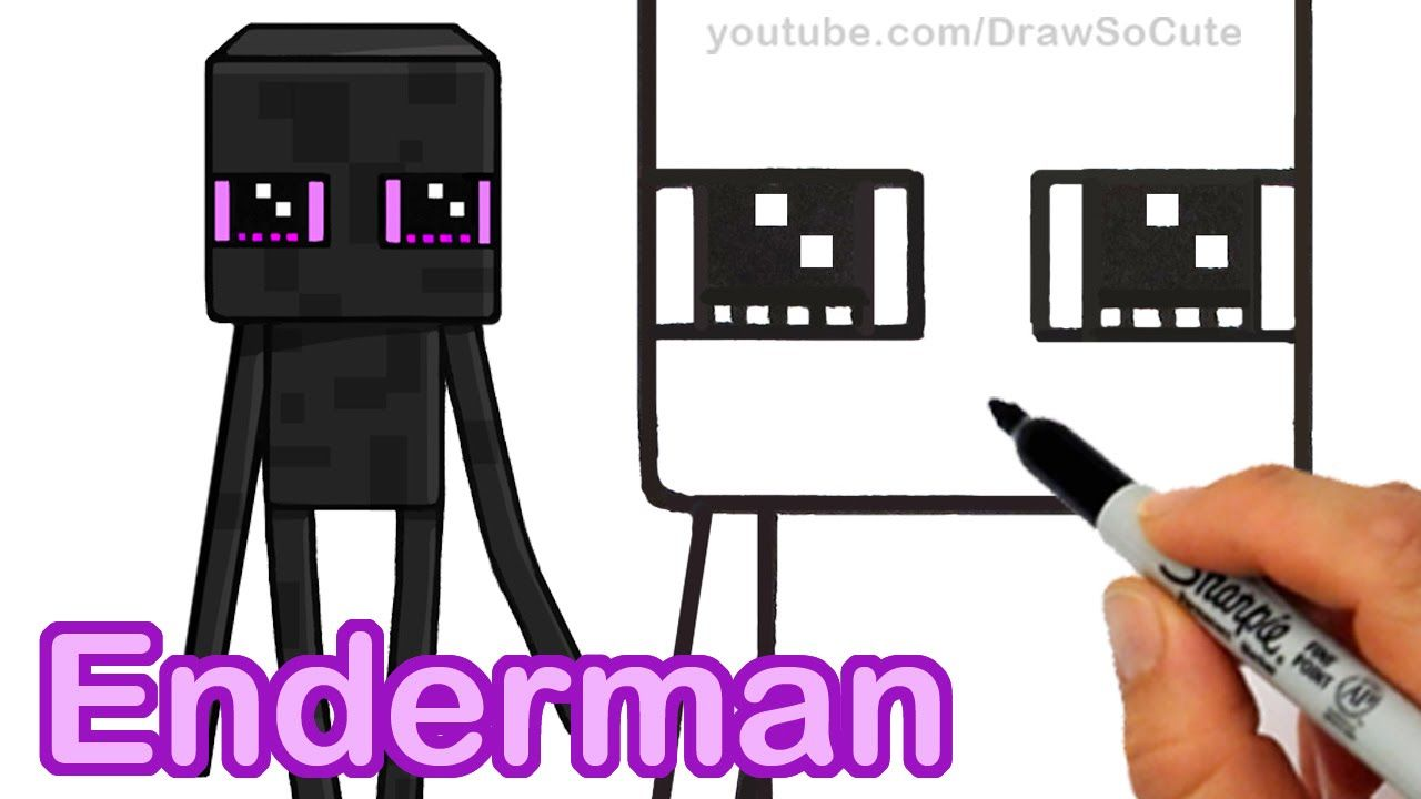 How to Draw Minecraft Enderman Cute step by step Easy  Cute