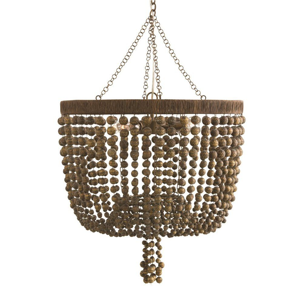 Three sizes of hammered beads attach to an iron frame that has been ...