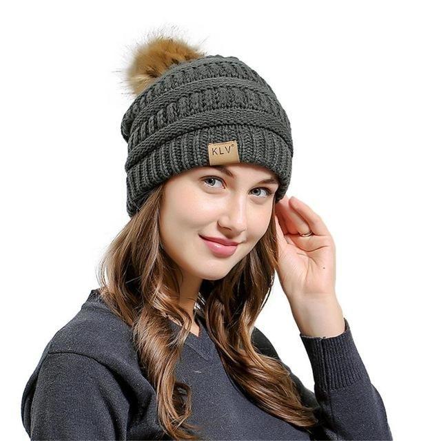 6bdcb3c39ec Men Women Baggy Warm Crochet Winter Wool Knit Ski Beanie Skull Slouchy Caps  Hat Imitation raccoon hair ball vertical knitting ha