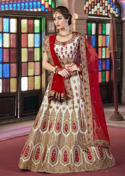 d12d32c2b6cb66 Designer Off White Gujarati Birde Lehenga Choli For Wedding Utsav A17046