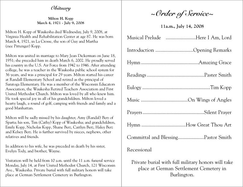 Free Printable Funeral Programs Please click on a Funeral - service list sample