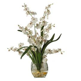 Faux Dancing Lady Orchid Arrangement II in White