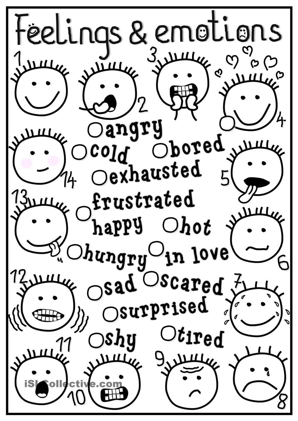 Printable coloring pages esl - Feelings And Emotions Matching