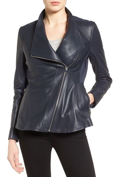1893dd1f3 Via Spiga Asymmetrical Zip Leather & Ponte Jacket available at #Nordstrom