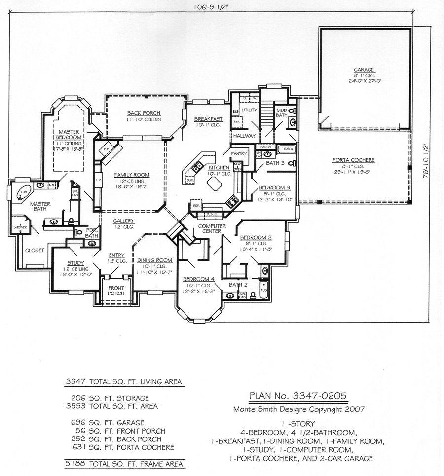 13 Master Bedroom Floor Plans Computer Drawings: 1 Story, 4 Bedroom, 4.5 Bathroom, 1 Dining Room, 1