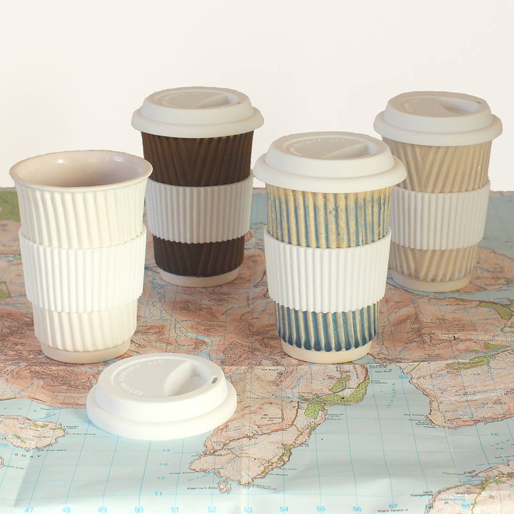Ceramic Travel Mug Eco Coffee Cup With Lid/Sleeve in 2020
