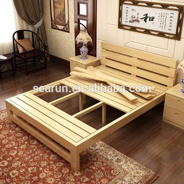 Source Solid Wooden Double Bed With Box Teak Wood Modern Bed Designs On M Alibaba Com Homemade Beds Diy Bed Frame Bed Design