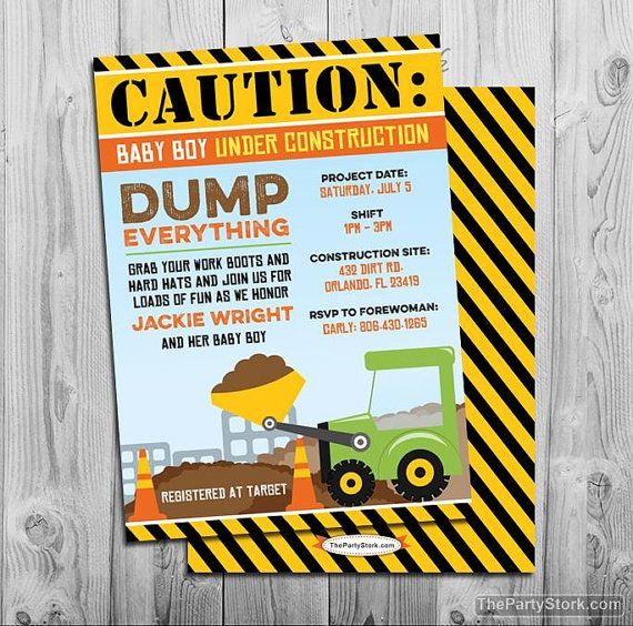 Construction Baby Shower Invitation Baby Under Construction Etsy Construction Baby Shower Construction Baby Shower Invitation Baby Shower Invitations For Boys