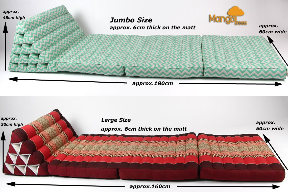 Three Folds Jumbo Size Thai Triangle Pillow Daybeds