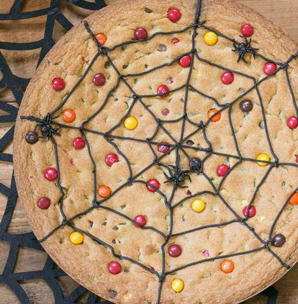 M&M Spider web cookie cake