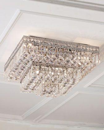 Eight Light Crystal Flush Mount Ceiling Fixture Light Fixtures