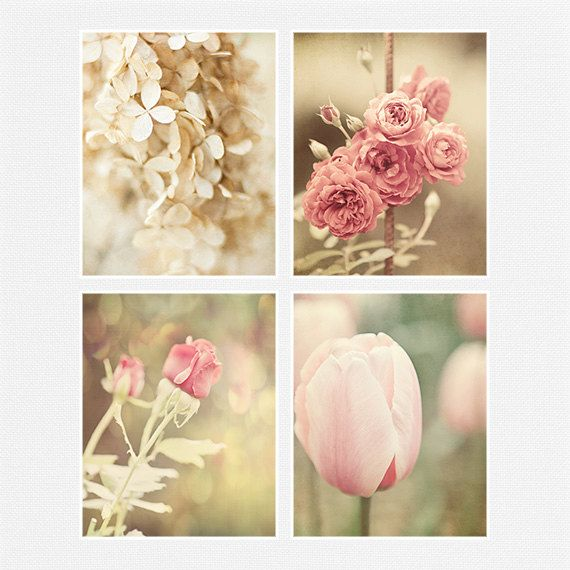 Shabby Chic Floral Print Or Canvas Wrap Set Pink Ivory Cream Cottage Flower Decor Of 4 Fits IKEA RIBBA Gift For Her Roses Tulips