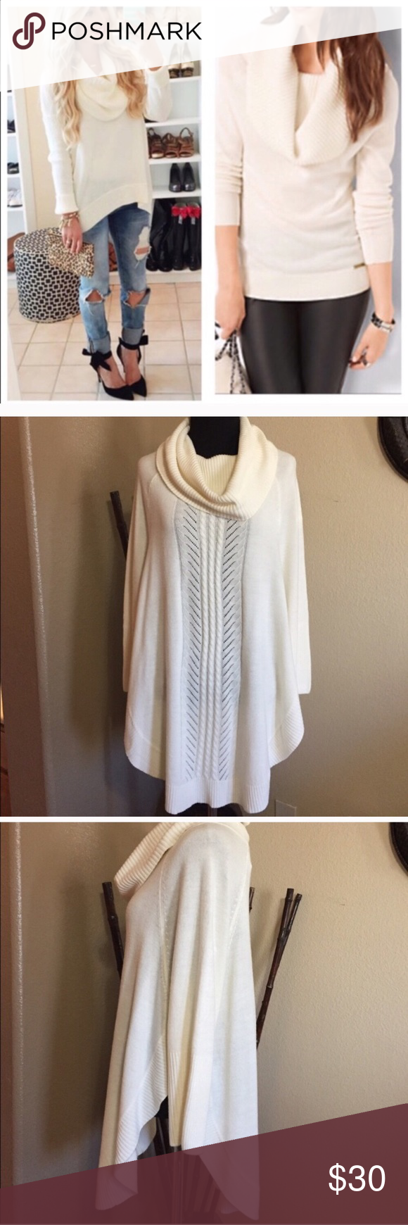 cowl neck sweater  tunic style cowl neck sweater  cream in color  side split  adorable with