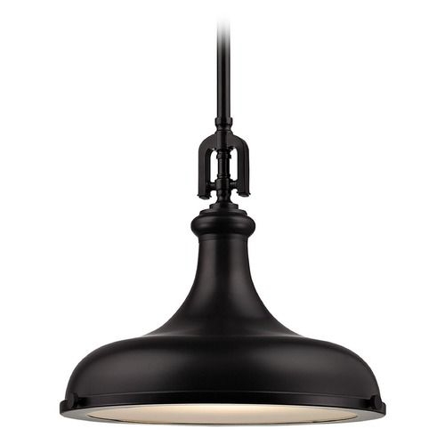 elk lighting rutherford oil rubbed bronze pendant light with bowl dome shade
