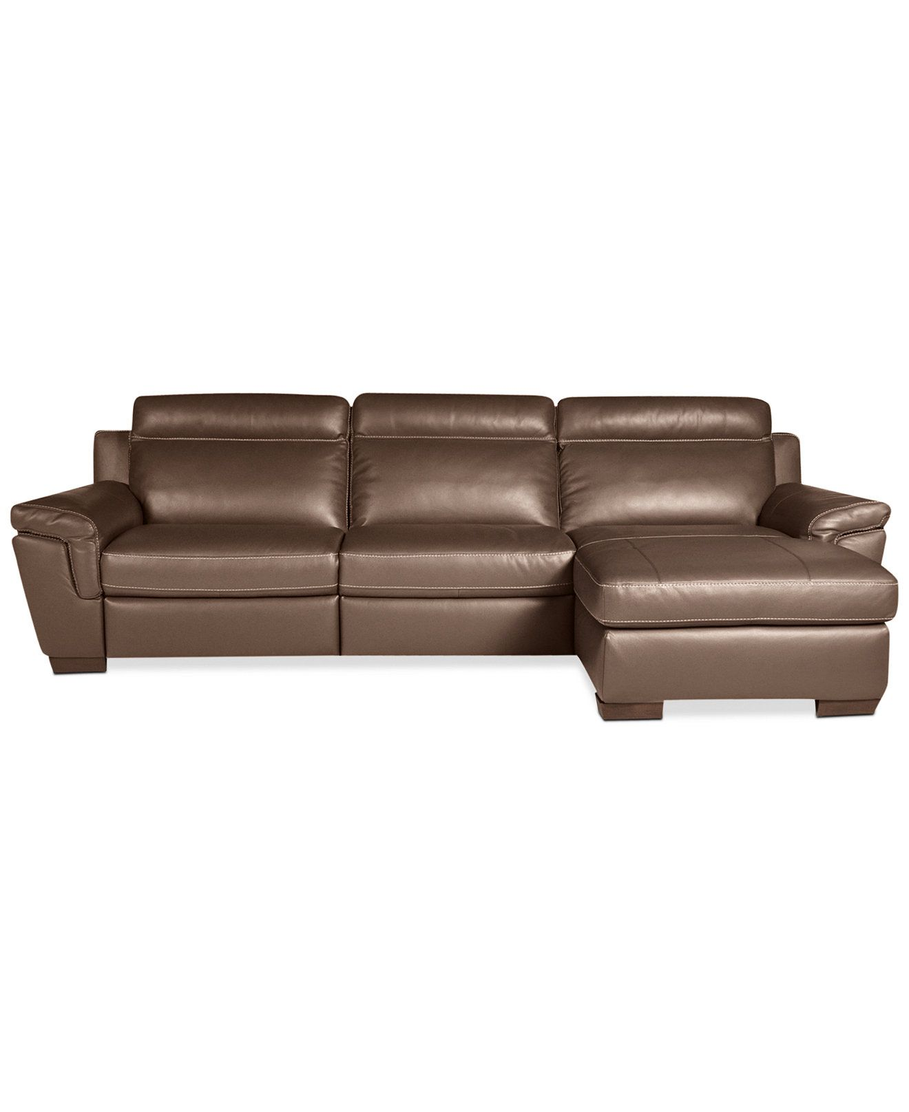 Julius 3 pc Leather Sectional Sofa with Chaise and 1 Power