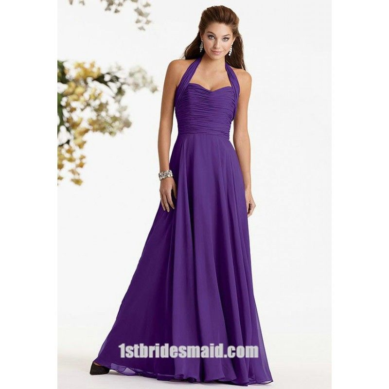 Halter Top Chiffon Ruched Purple #LongBridesmaidDresses $114.00 ...
