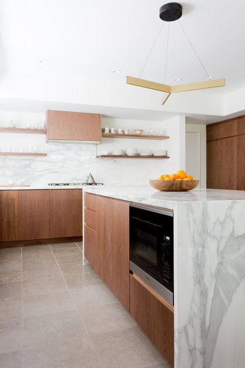 Modern Kitchen, Walnut Cabinets, Marble Counters, California Cool Kitchen,  Floating Shelves, Hood Surround, Intergrated Appliances