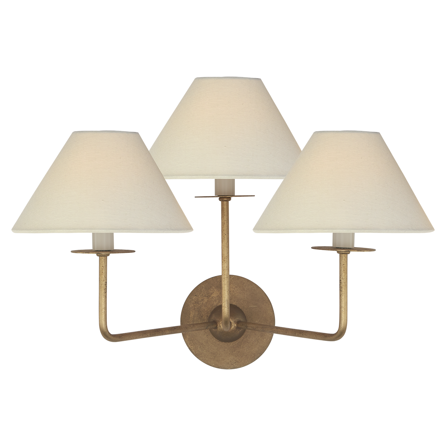 "Kelley Medium Triple Sconce in Gilded Iron with Linen Shades Item # NW 2070GI-L   Designer: Niermann Weeks Height: 14.25"" Width: 19"" Extension: 12.75"" Backplate: 5"" Round Socket: 3 - E12 Candelabra Wattage: 3 - 40 B"