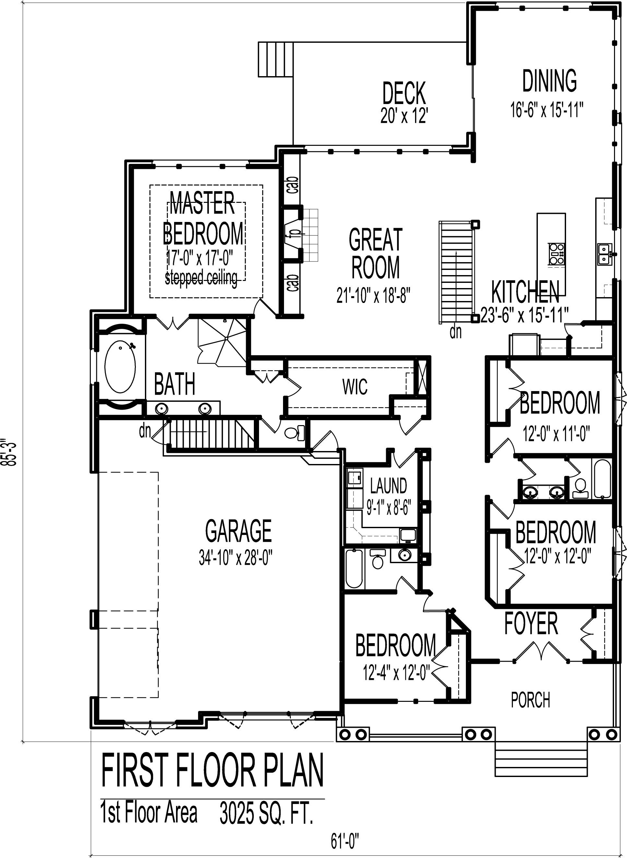 European cottage house design 3000 sf 4 bedroom 3 bath - 4 bedroom 3 car garage house plans ...