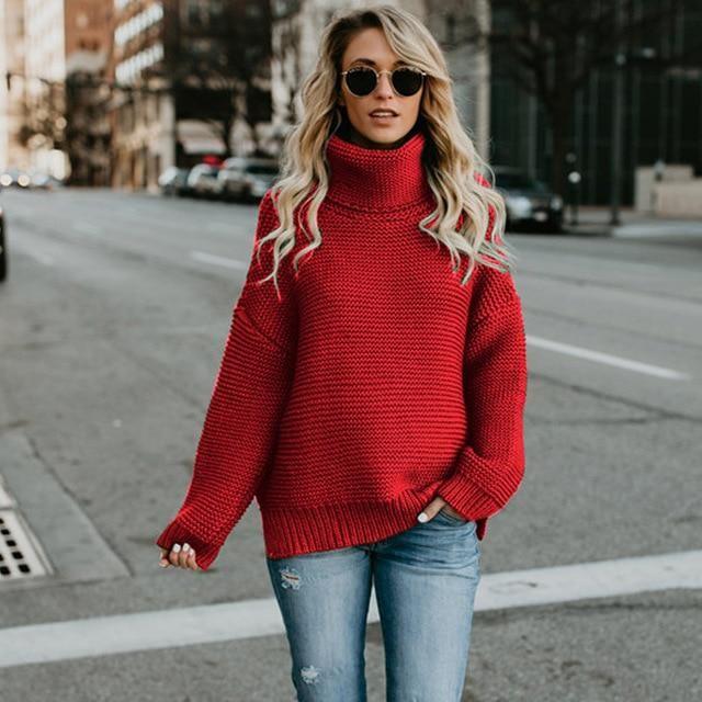Warm Turtleneck Sweater Women Jumper Women Sweaters Pullovers Knitted Sweater~