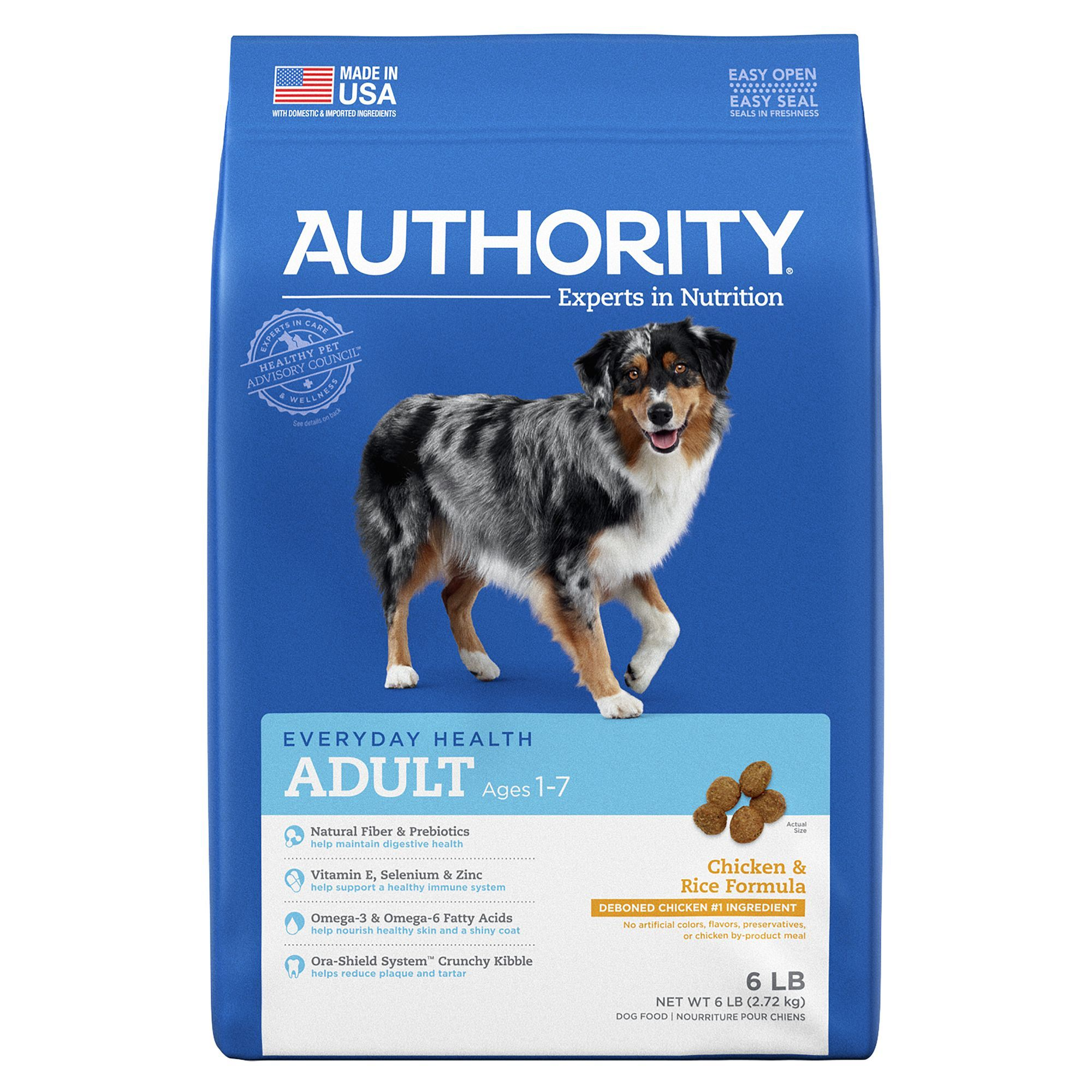 Authority Adult Dog Food Chicken and Rice size 6 Lb