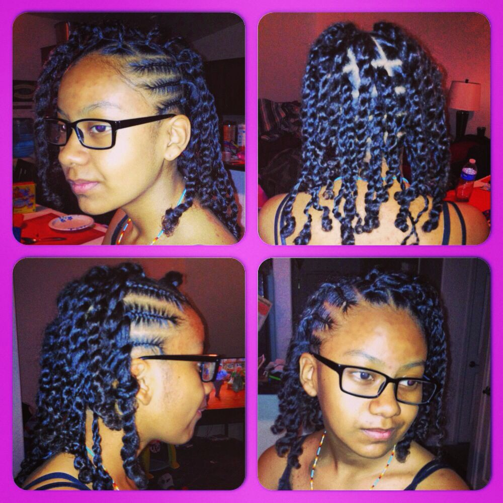 Girl Cornrows With Two Strand Twist Cornrows For Girls Kids