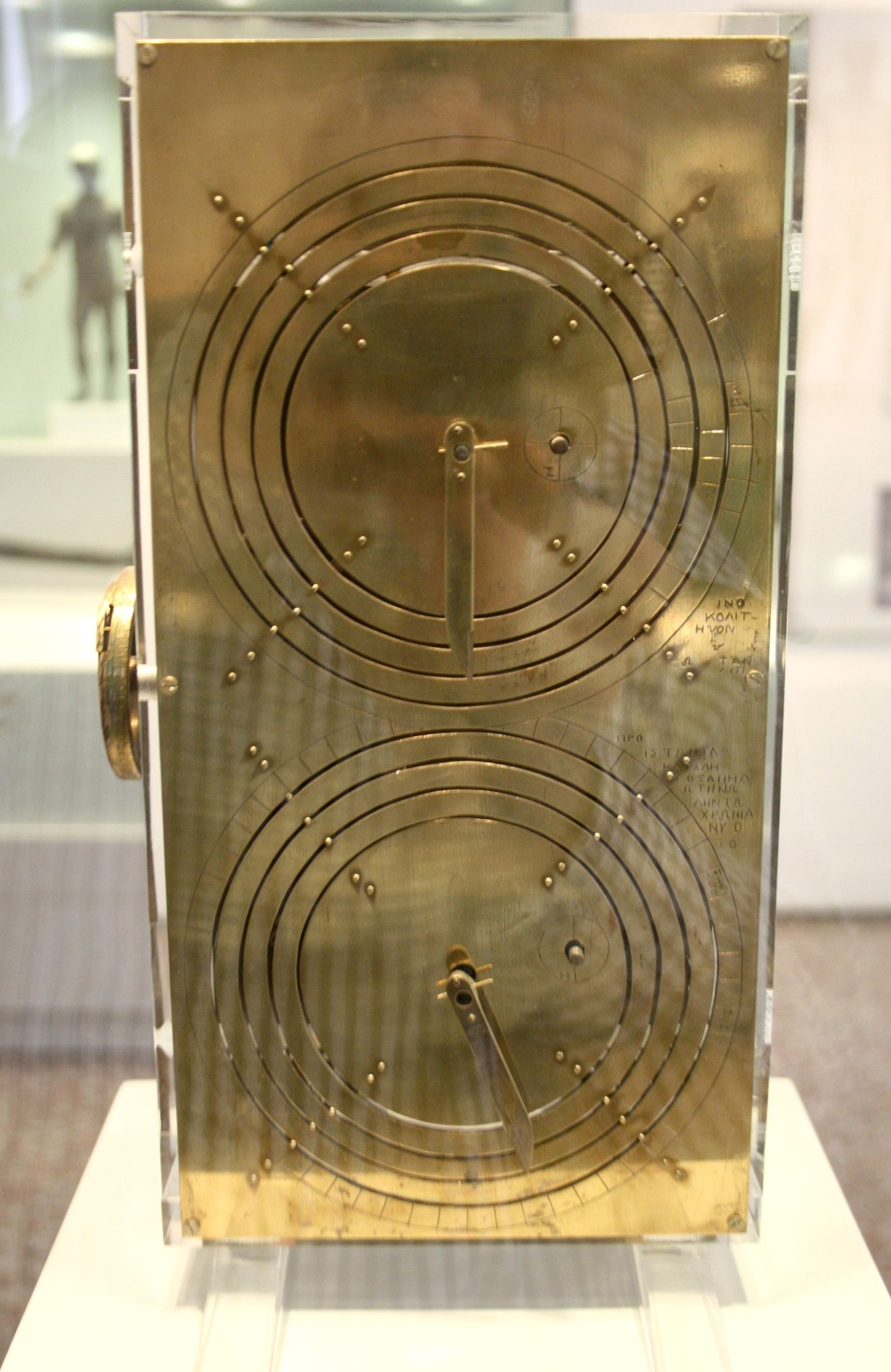 Modern replica of the Antikythera Mechanism, a Hellenistic astronomical computer, on display in room 38 of the National Archaeological Museum in Athens.