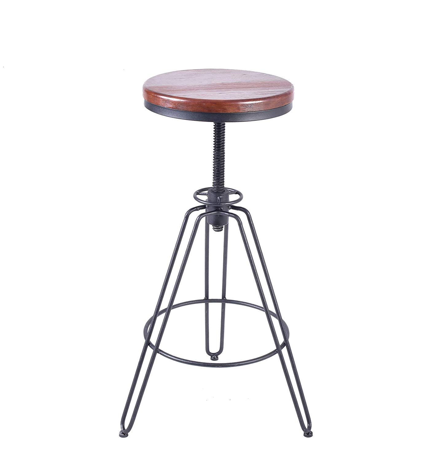 Lokkhan Vintage Industrial Bar Stools Ash Wood Metal Bar Stool