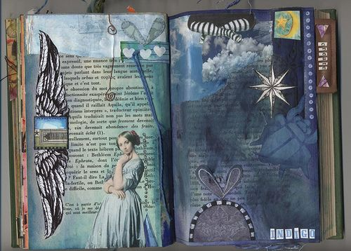 indigo...an amazing journal page! So many wonderful pages in this album, a must see!  {I love this Site! ~ Belle}