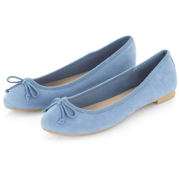 Light Blue Suedette Ballet Pumps ($10) ❤ liked on Polyvore featuring shoes, flats, blue, footwear, flat soled shoes, blue shoes, light blue shoes, light blue ballet flats and flat shoes
