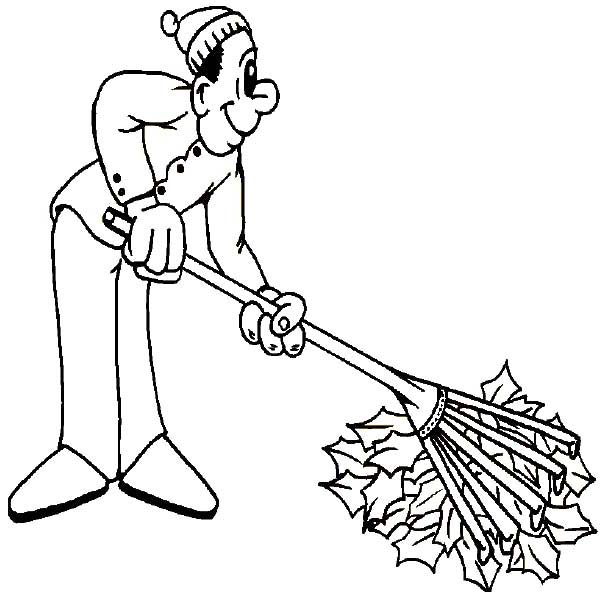 Father Cleaning Autumn Leaf On Autumn Coloring Page