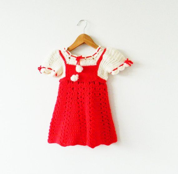 Photo of Crocheted Vintage Holiday Dress / Vintage Baby Girl Dress / Hand Knit Christmas …