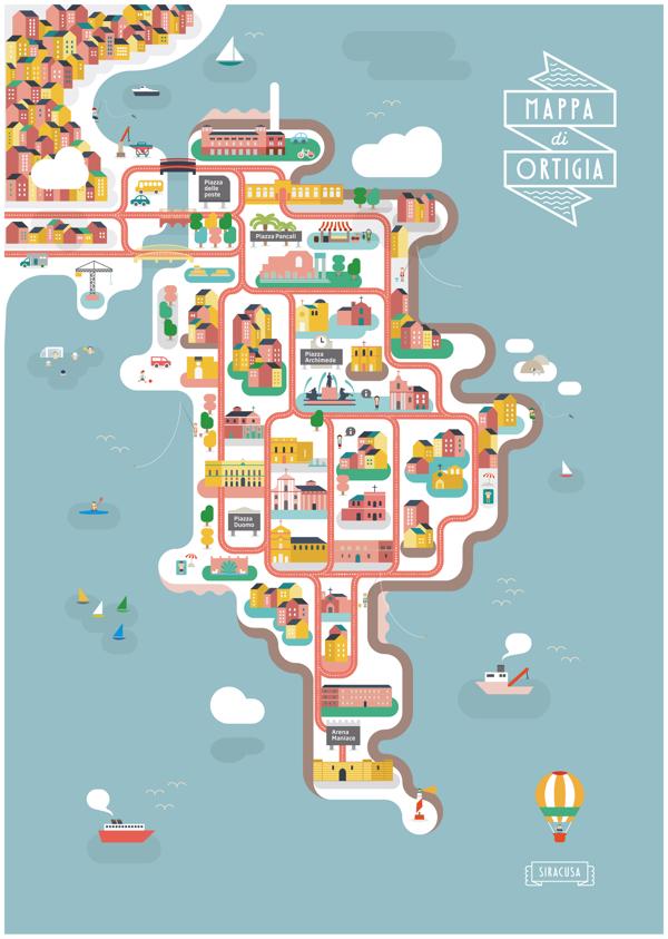 Illustrated Map Of Ortigia Ideas Map Map Design Illustration