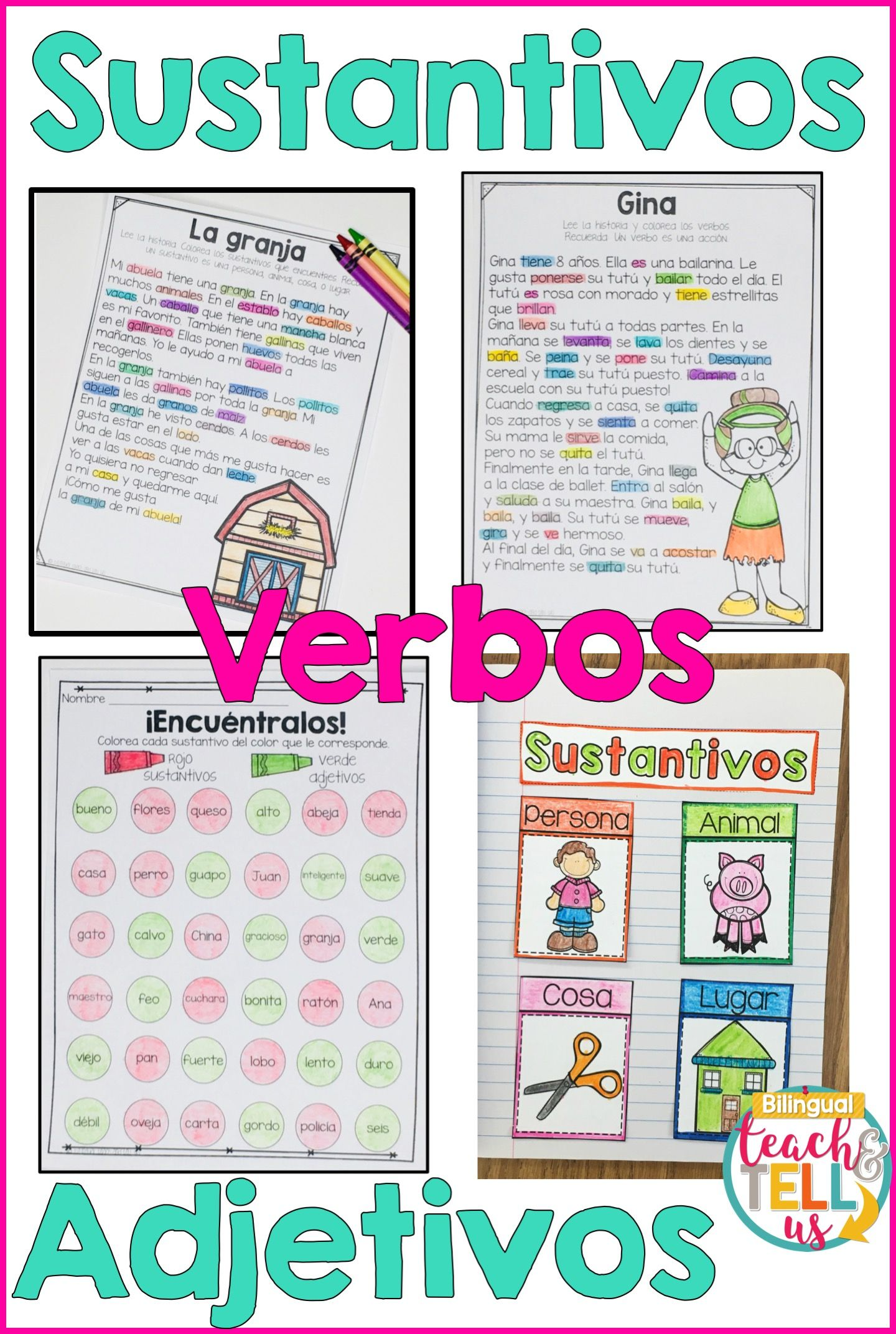 Sustantivos Verbos Adjetivos Bundle Nouns Verbs