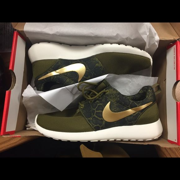 new product b452e 1d850 Women s Nike Roche Olive green snake print with gold Nike check Nike Shoes  Athletic Shoes