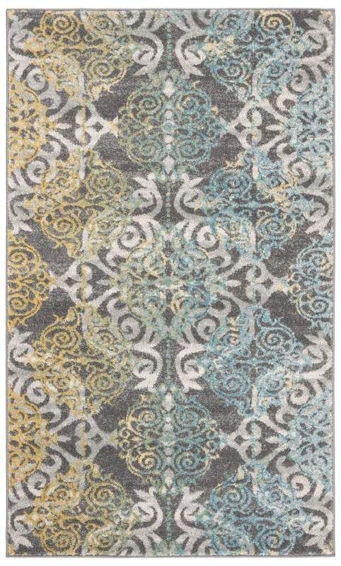 Mistana Elson Damask Grey Ivory Area Rug Rugs Yellow Area